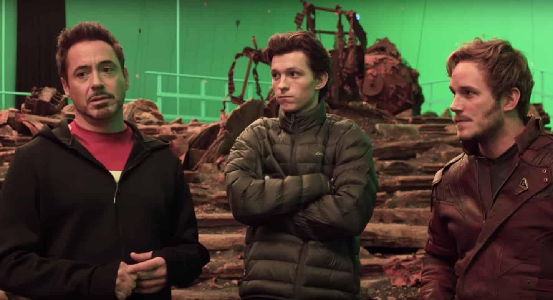 Robert Downey Jr., Tom Holland a Chris Pratt na natáčaní v štúdiu. Zdroj: collider.com