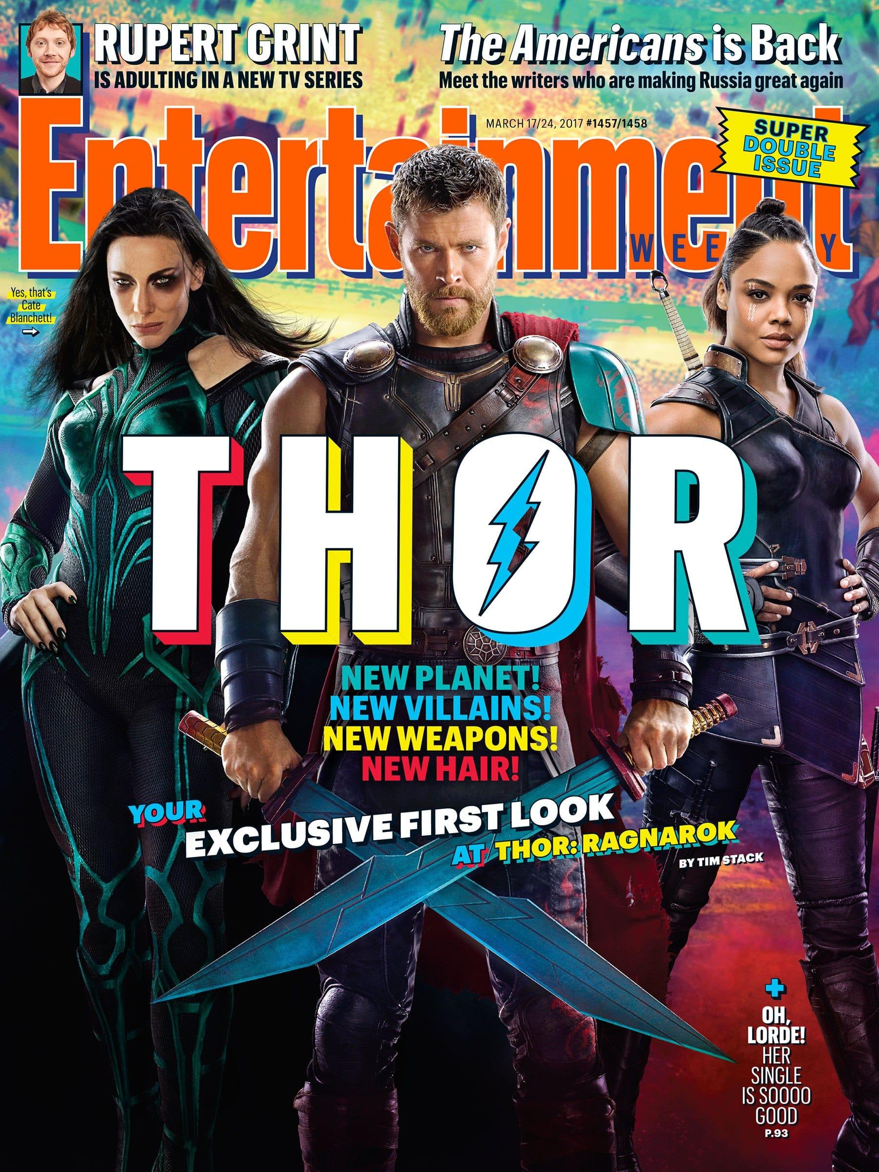 Oficiálna obálka časopisu Entertainment Weekly. Thor a jeho meče namiesto kladiva Mjolniru!
