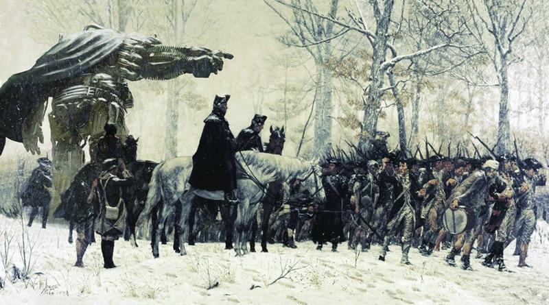 "Obraz ""March to Valley Forge""  s Transfomerom Houndom"