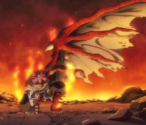 Natsu Dragneel s polovičnou dračou formou.