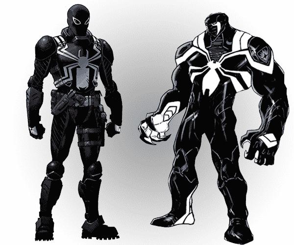 Na ľavo vidíme staršiu verziu Agenta Venoma a na pravo verziu v Guardians