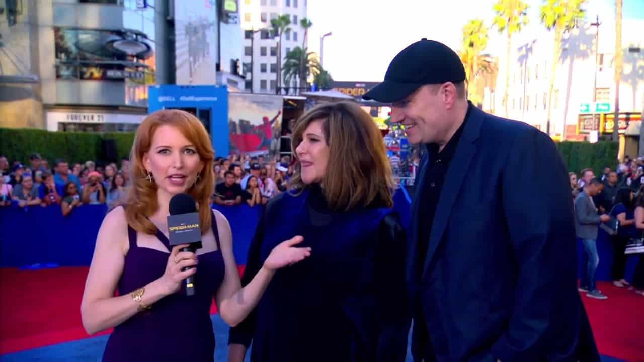 Riaditeľka štúdia Sony Amy Pascal spolu s prezidentom Marvelu Kevinom Feigom na premiére filmu Spider-Man: Homecoming